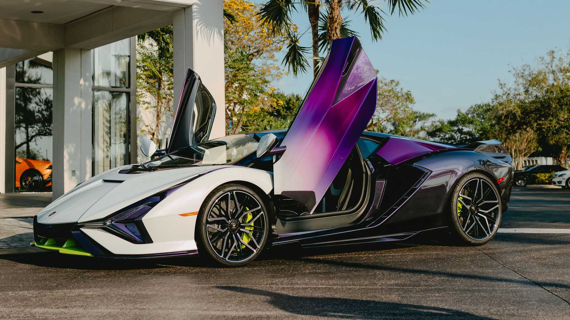 Lamborghini Sian In Purple, Green, And White Side Low Door Up Photo By Juan Pablo Saenz
