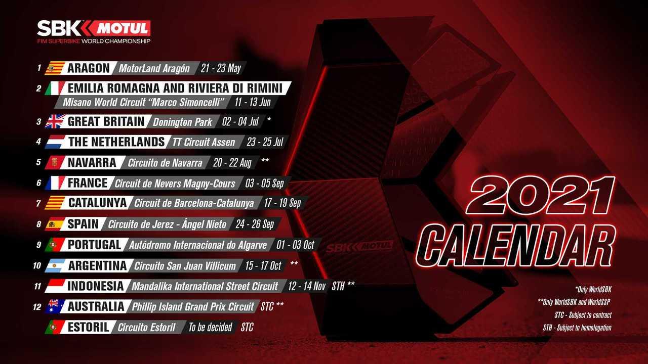 2021 World Superbike Provisional Calendar - March 2021