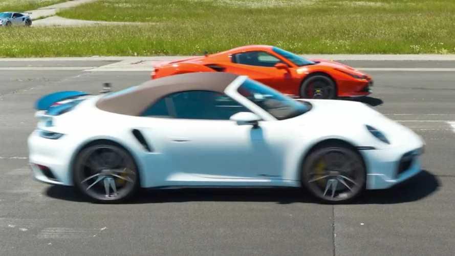 Porsche 911 Turbo S races Ferrari 488 Pista in AWD vs RWD battle