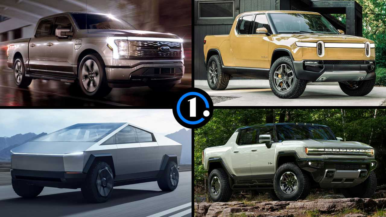 2022 Ford F-150 Lightning compared to the Hummer EV, Cybertruck, and Rivian R1T.