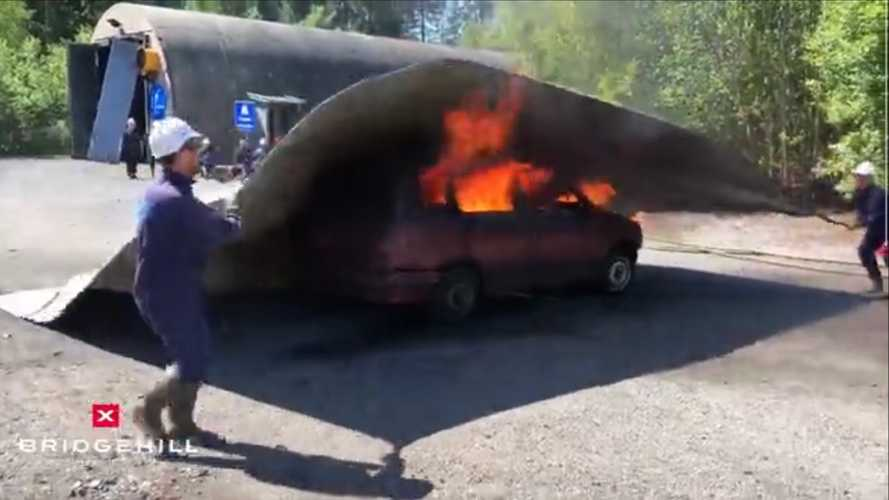 We just learned about car fire blankets and are mesmerised