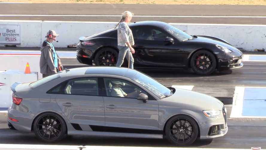 Audi RS3 Takes On German Rival Porsche 718 Cayman In A Drag Race