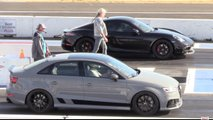 Audi RS3 vs Porsche Cayman Drag Race