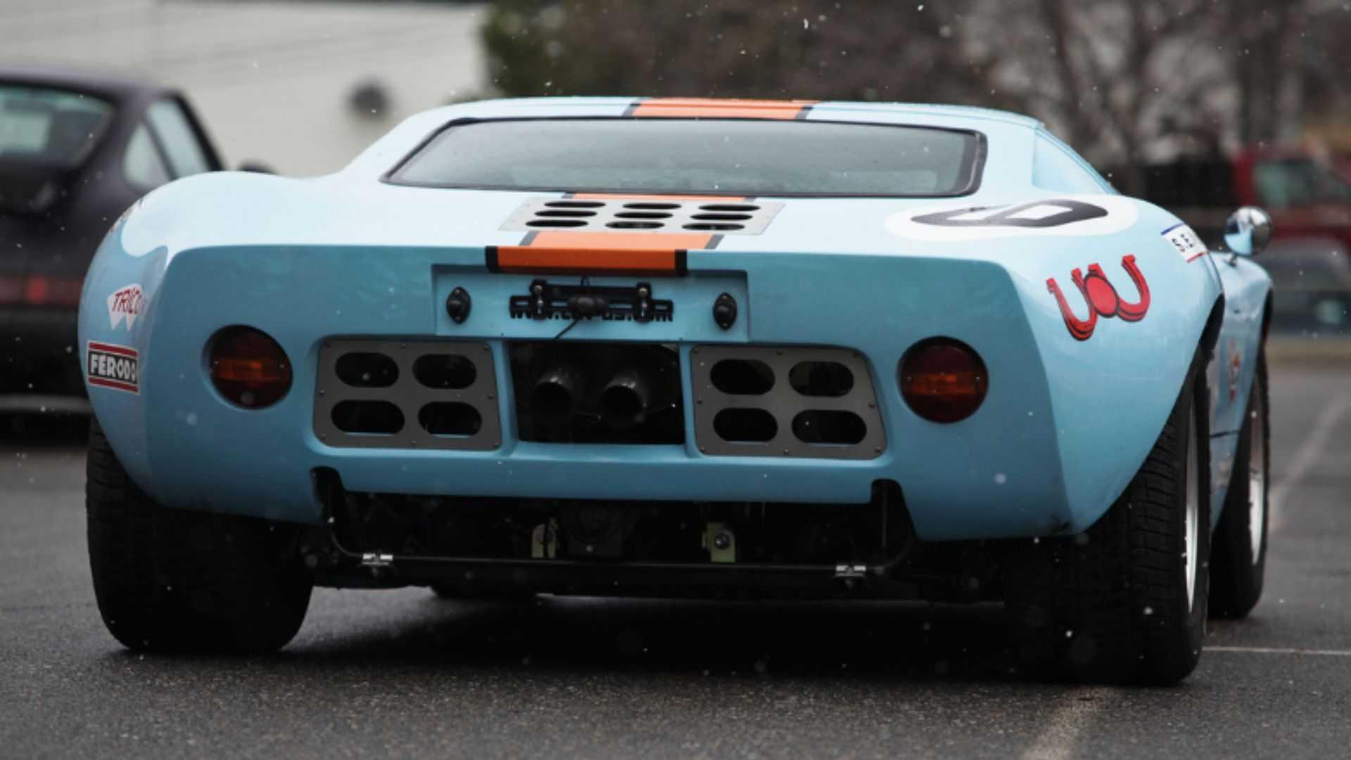 "[""Trash Ferraris In This CAV GT40 In Gulf Livery""]"