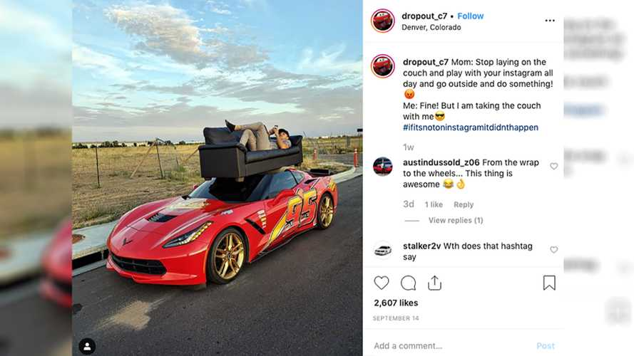 Chevy Corvette C7 Dressed As Lightning McQueen Hauls Sofa, Watermelons