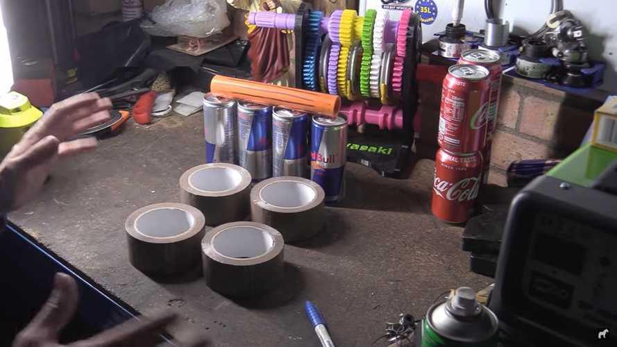 Watch This Man Prove V4 Engines Are Best Using Soda Cans And Tape
