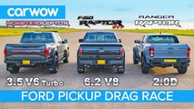 Ford F-150 Raptor And Ranger Raptor Drag Race