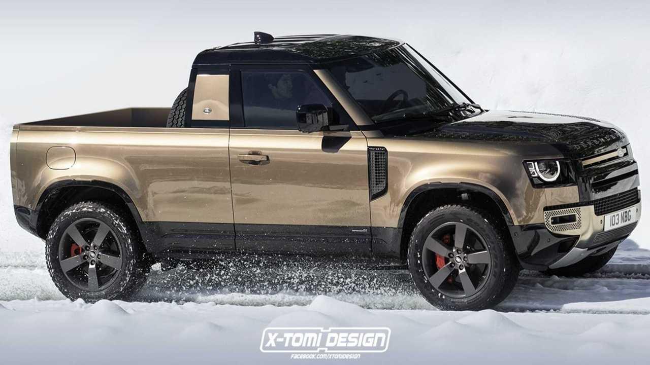 Land Rover Defender pickup truck render by X-Tomi Design