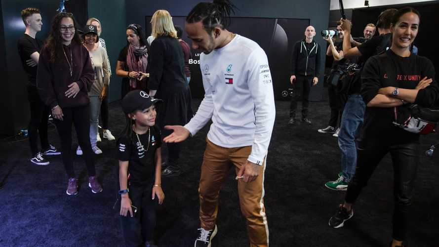 Promoted: Hamilton pranks fans at Mercedes-Benz World