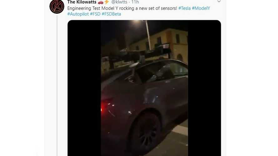 Tesla Model Y Spotted Driving With Strange Sensor Rack Up Top
