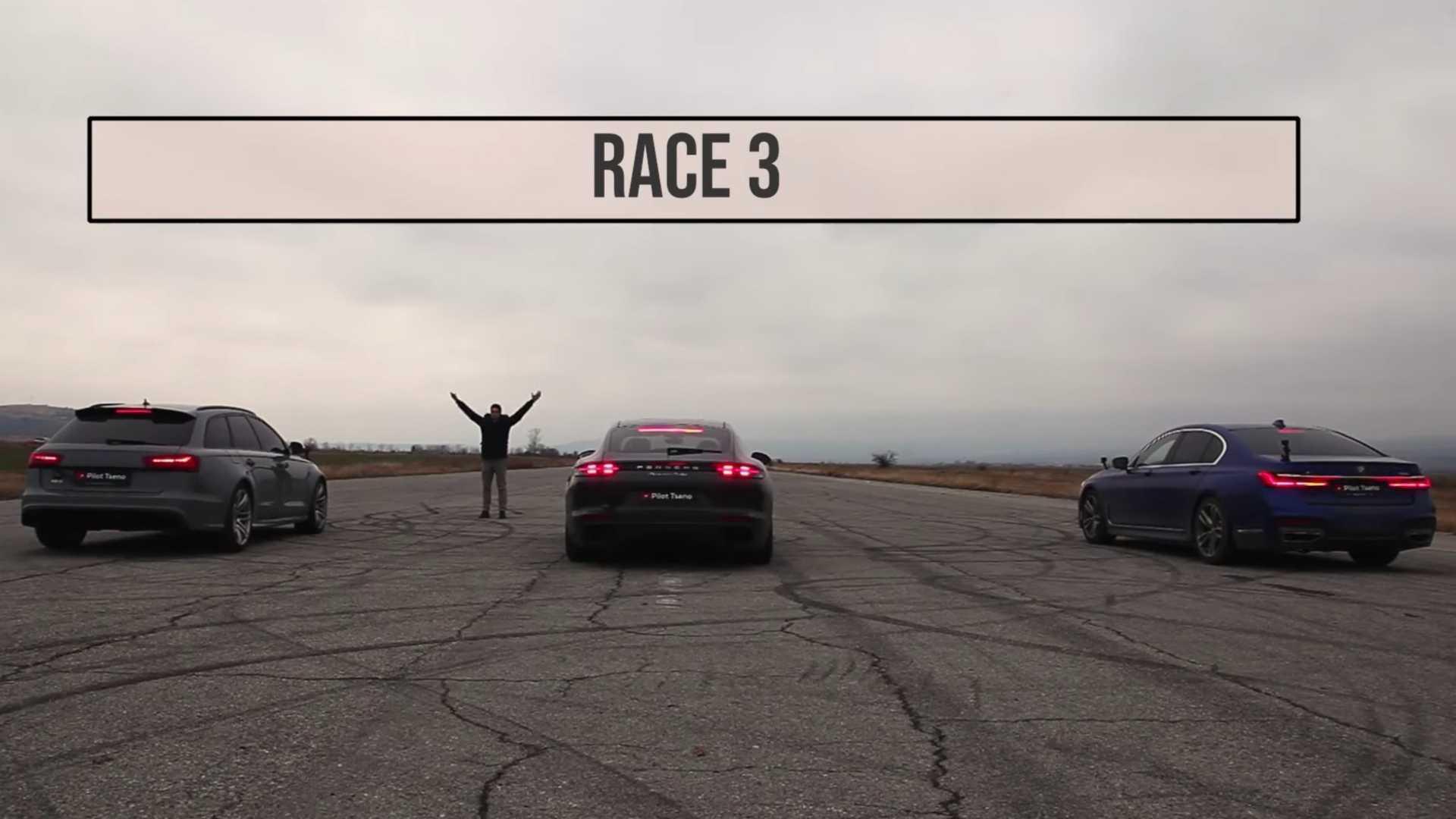 BMW 750i Drag Races Porsche Panamera Turbo, Then Audi RS6 Arrives - Motor1