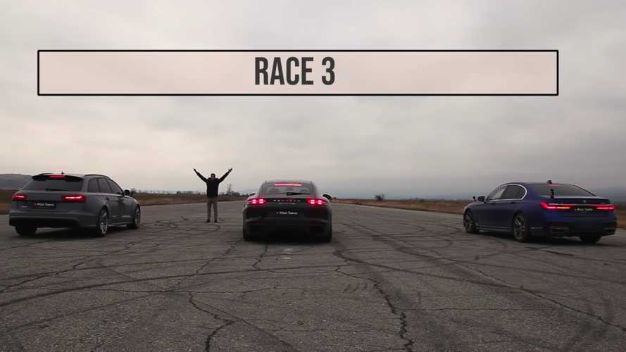 BMW 750i drag races Porsche Panamera Turbo, then Audi RS6 arrives