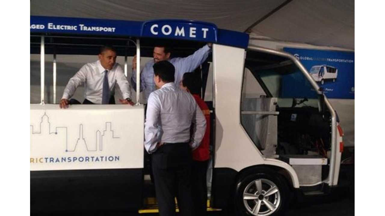 President Obama Checks Out Made In The USA Electric Minibus