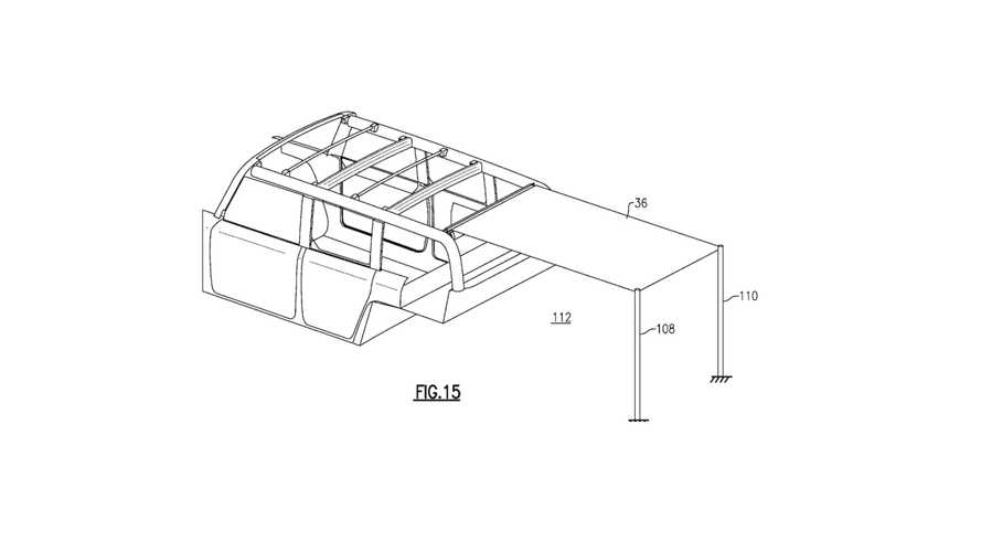 Ford's retractable cloth roof patent drawings