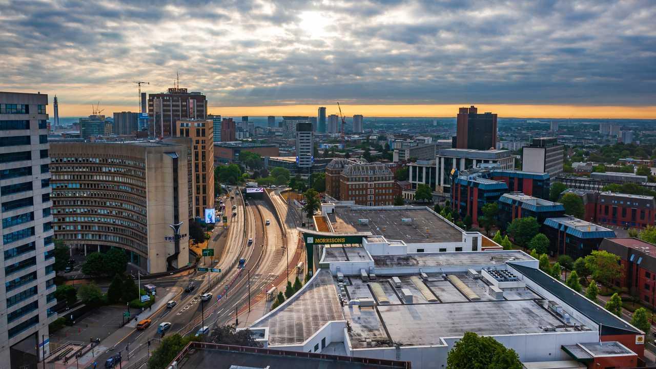 Panoramic view of Birmingham UK city centre during the sunrise