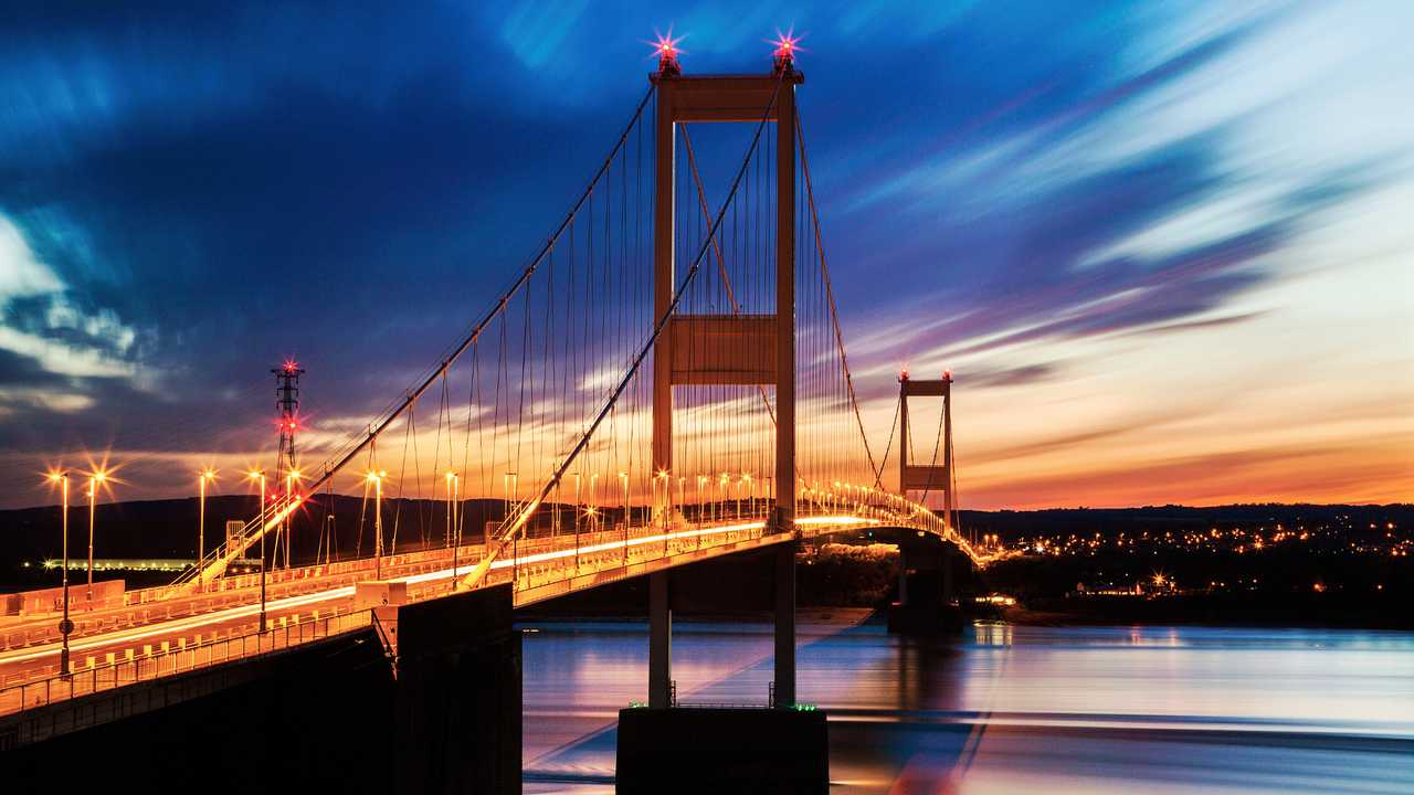 First Severn Bridge linking Wales and England