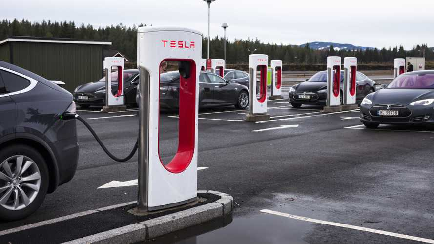 Nebbenes Supercharger station in Eidsvoll Verk Norway