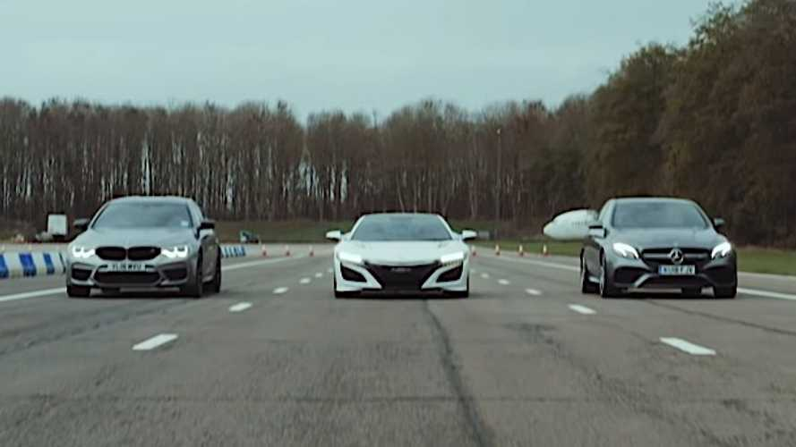 Honda NSX, BMW M5 Competition, AMG E63 S Have A Three-Way Drag Race