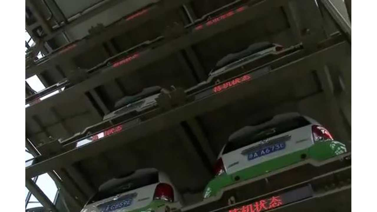 Video: Watch China's Vertical EV Sharing / Charging Structure in Action