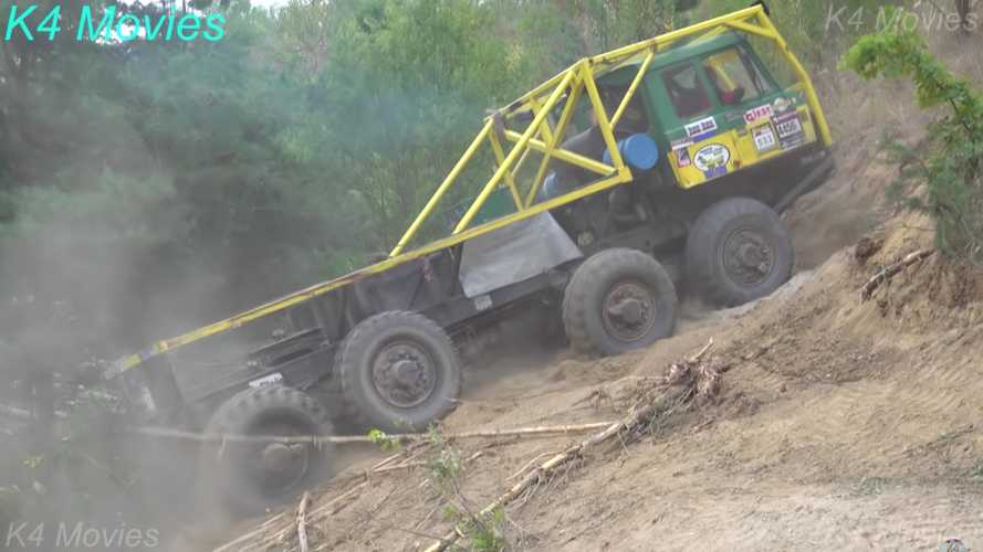 Even 8x8 trucks have a hard time tackling this off-road course