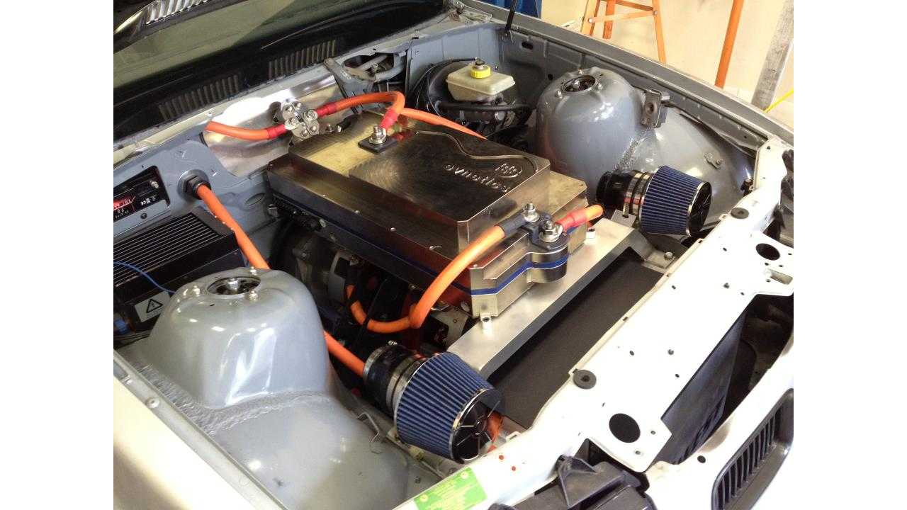 The twin 350-horsepower motors under the hood of the M3 Race Car