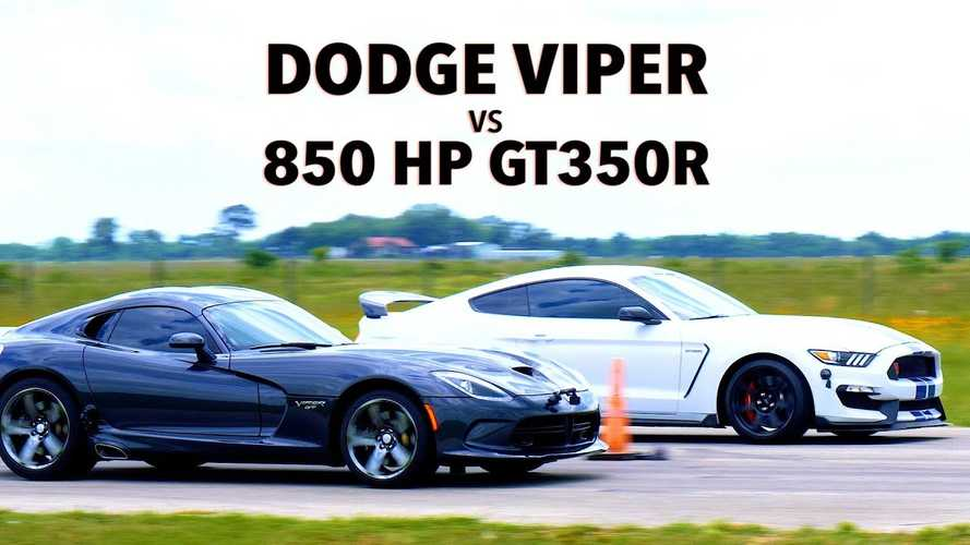 Stock Viper Drag Races Hennessey-Tuned Shelby GT350R With 850 HP