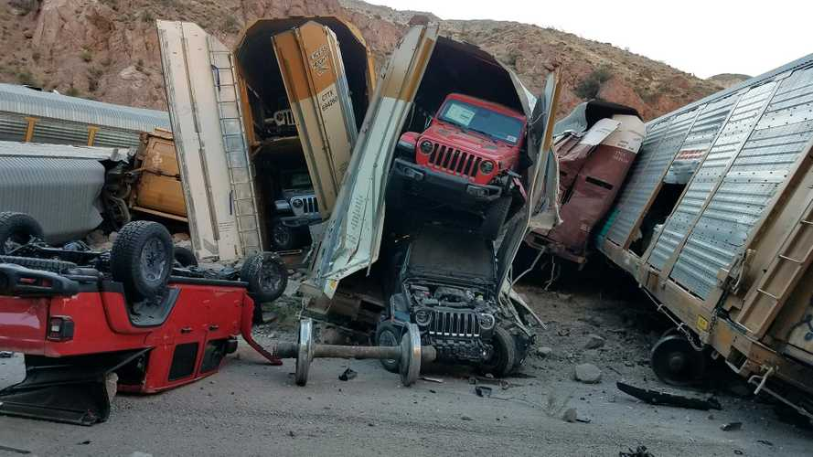Jeep Gladiators And Other Trucks Damaged In Train Derailment