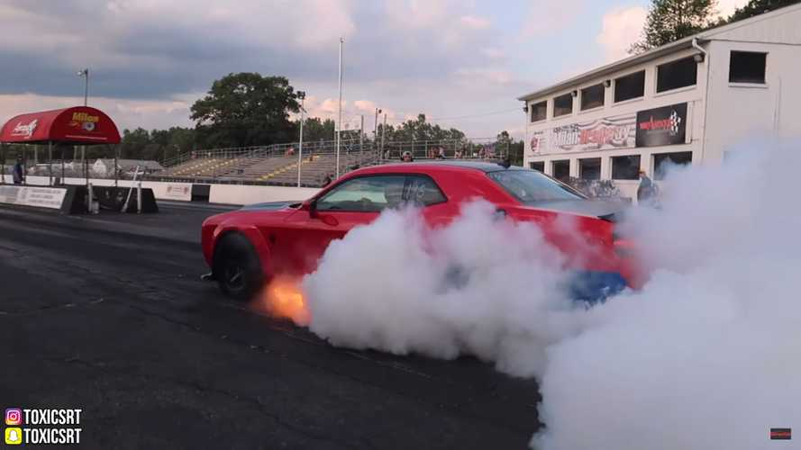 Dodge Demon Burns At Drag Strip While Driver, Officials Argue