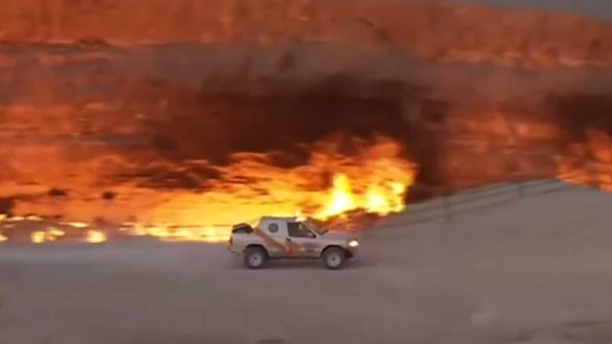 Turkmenistan Pres does donuts around flaming pit to prove he's alive