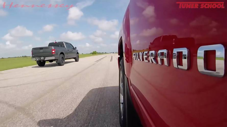 Hennessey Supercharged F-150 Drag Races Stock Silverado