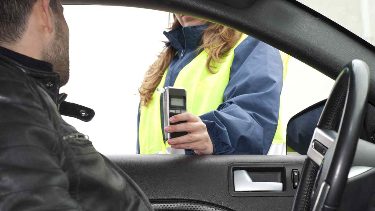 Driver being subject to breathalyzer test