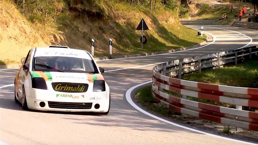 Watch this Suzuki GSX-R1000-powered Citroën C2 charge a road course
