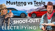 video ford mustang mache vs tesla model 3