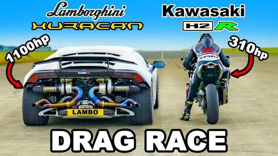Kawasaki H2R Versus Lamborghini Huracan Turbo Drag Race: Who Wins?
