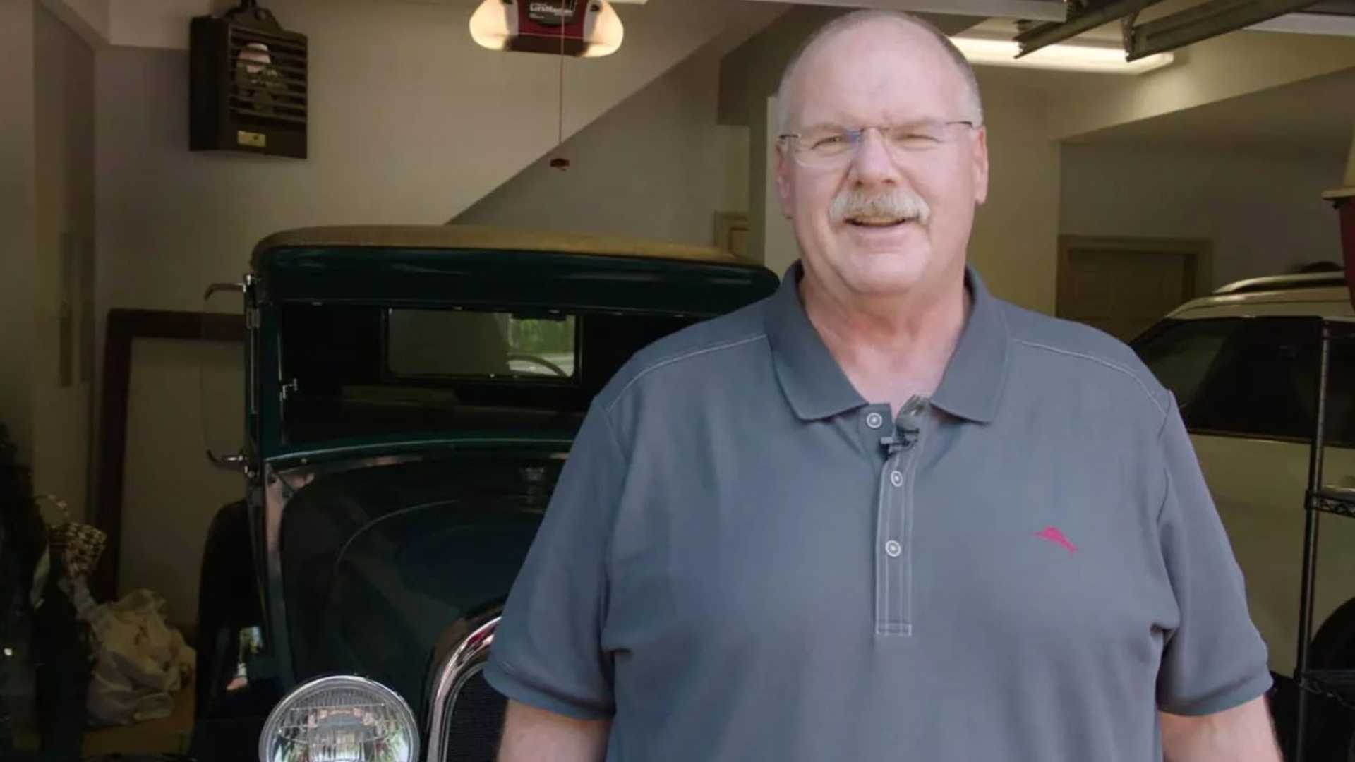 """[""""Chief's Coach Andy Reid Drives Father's Model A Bought For $25""""]"""