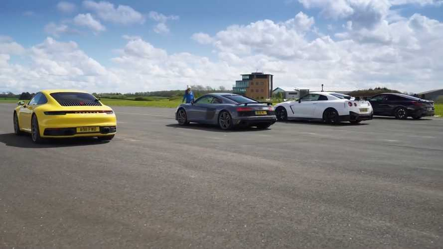 Nissan GT-R Nismo drag races Audi R8, BMW M850i, Porsche 911 Carrera 4S