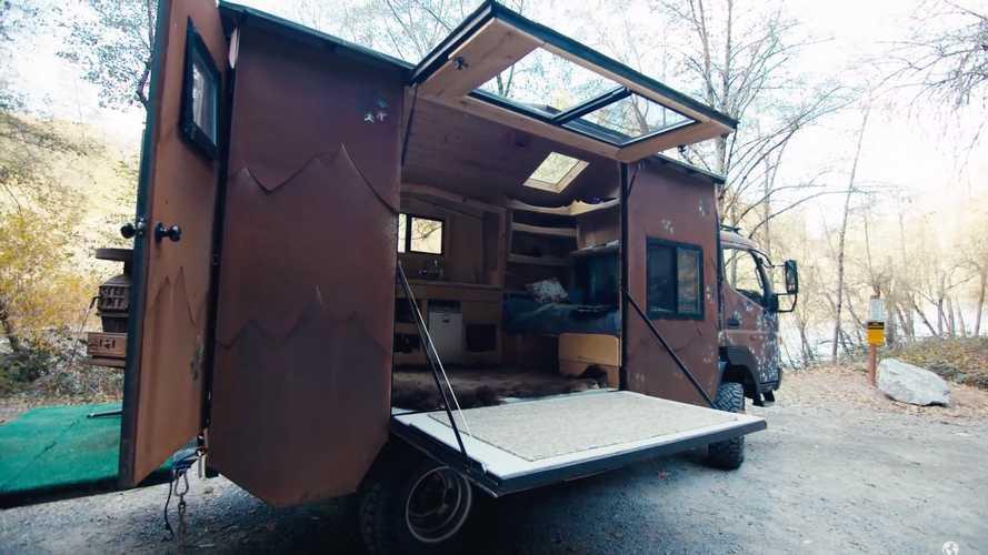 Crazy Custom Camper Features In-Floor Bathtub, Wood Stove
