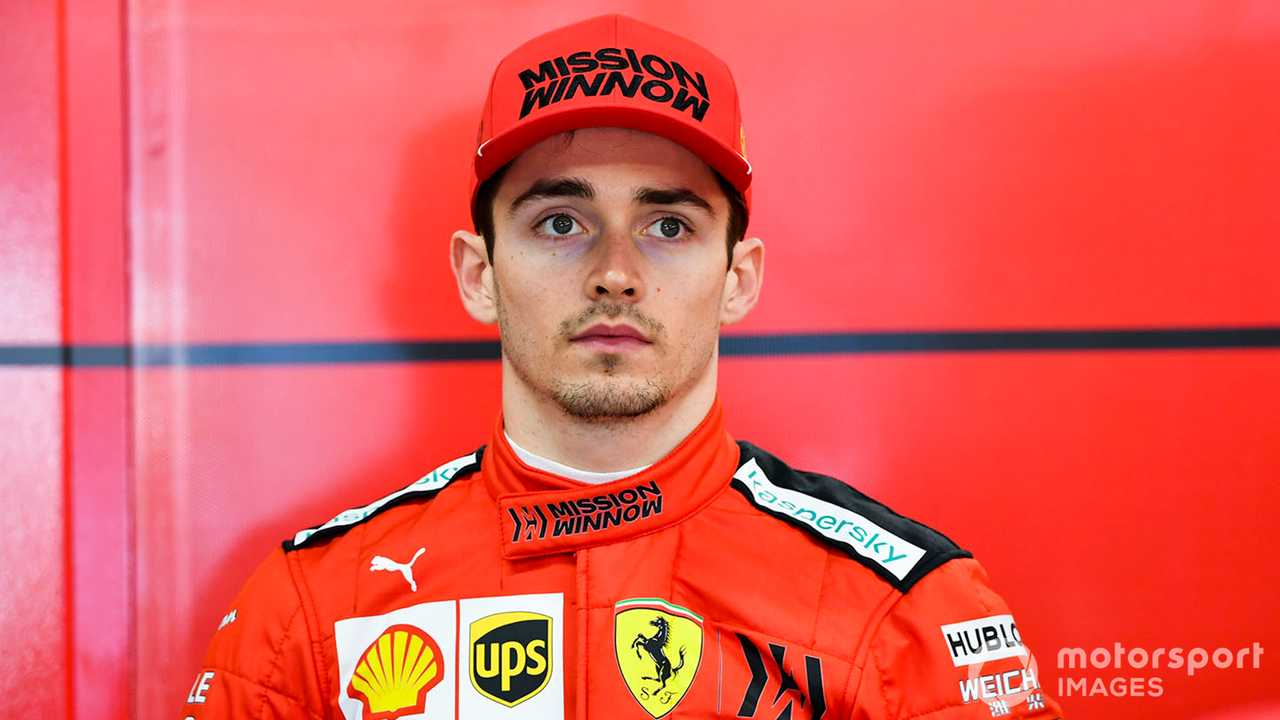 Charles Leclerc in the garage at Barcelona Feb testing 2019