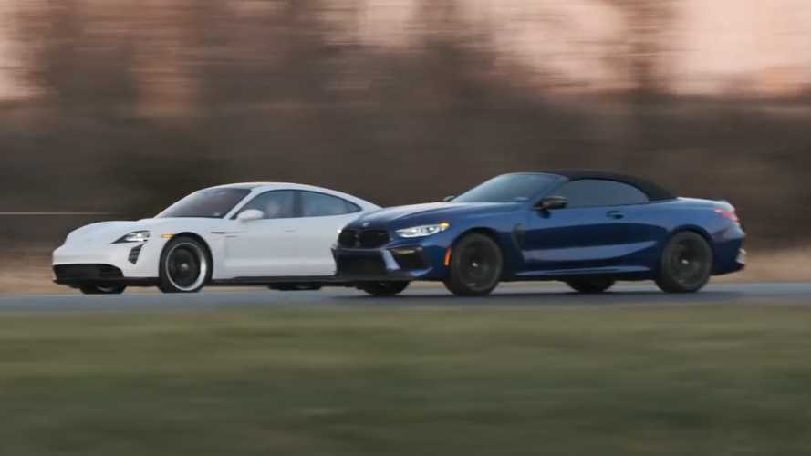 Watch BMW M8 Comp Drag Race Porsche Taycan Turbo S, M6 Comp