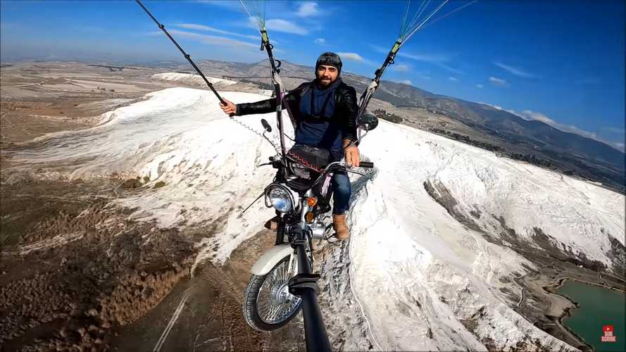 Watch This Daredevil Fly His Motorcycle Over Pamukkale, Turkey