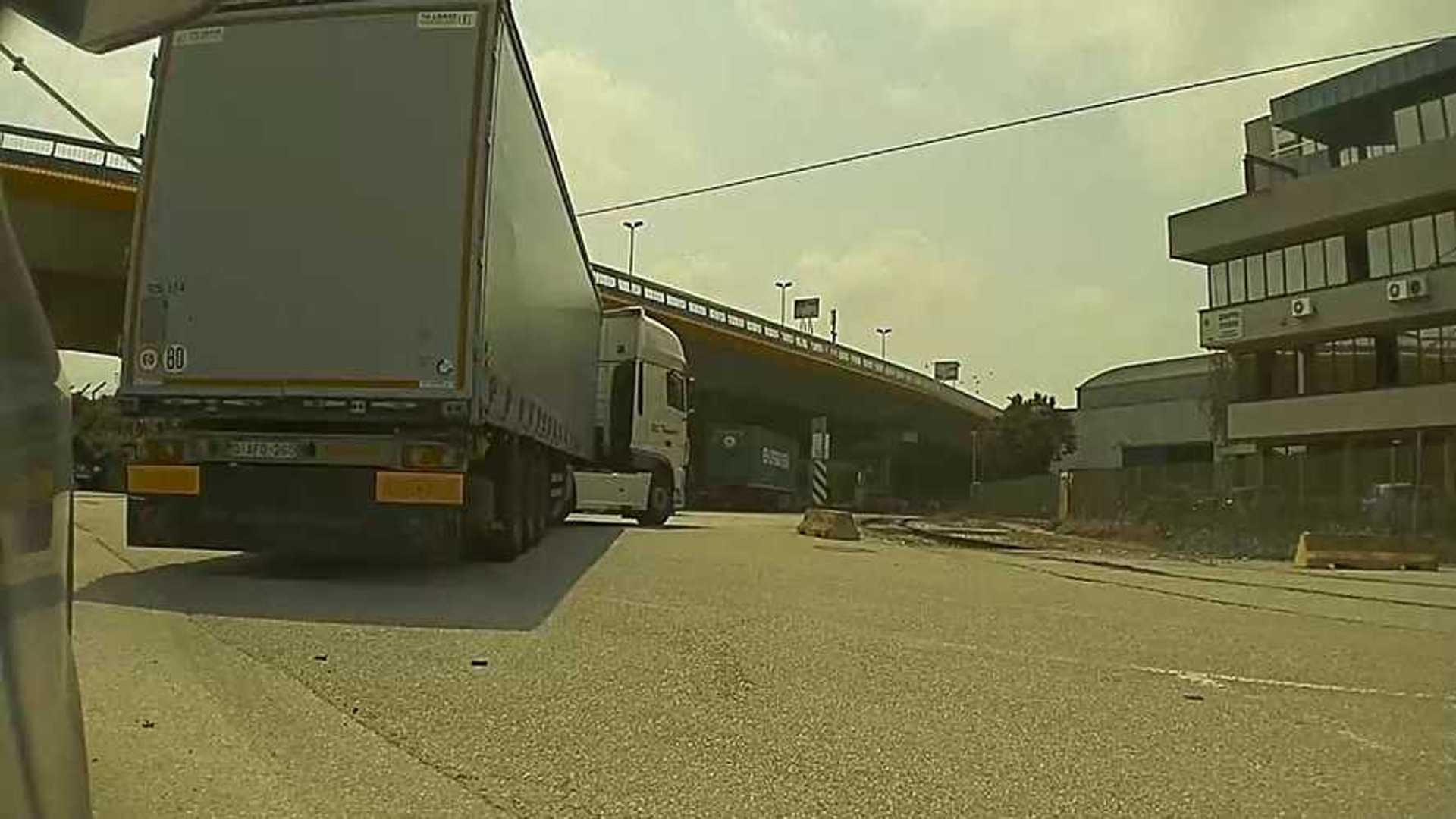 Watch Sentry Mode Capture Semi Truck Damaging Tesla Model 3: Video
