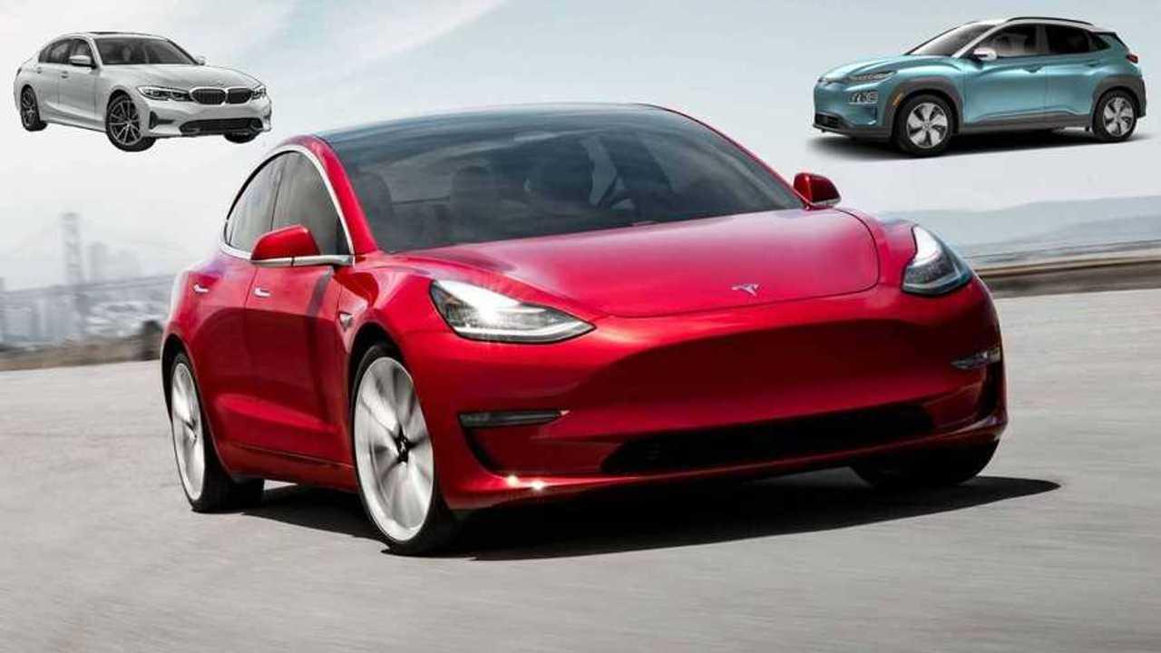 Tesla Model 3 Faces Hyundai Kona For EVs, BMW 3 Series For Sedans