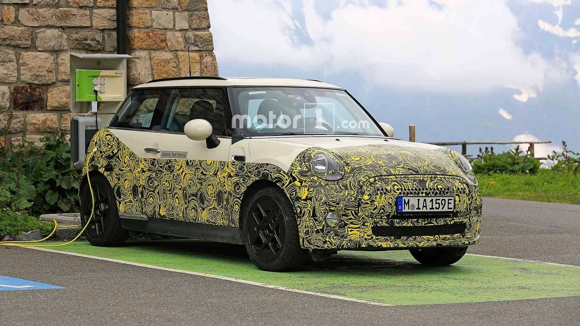 Electric Mini Test Mule Spied Charging Up Shows Off Its Cabin