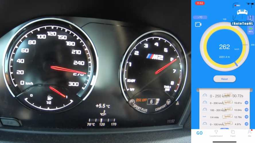 How fast is the BMW M2 Competition to 163 mph on a damp road?