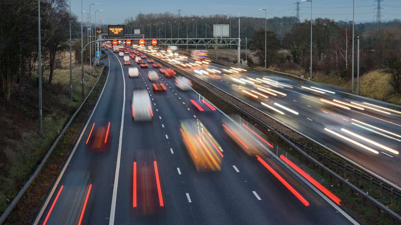 Fast moving traffic along the M42 in Warwickshire