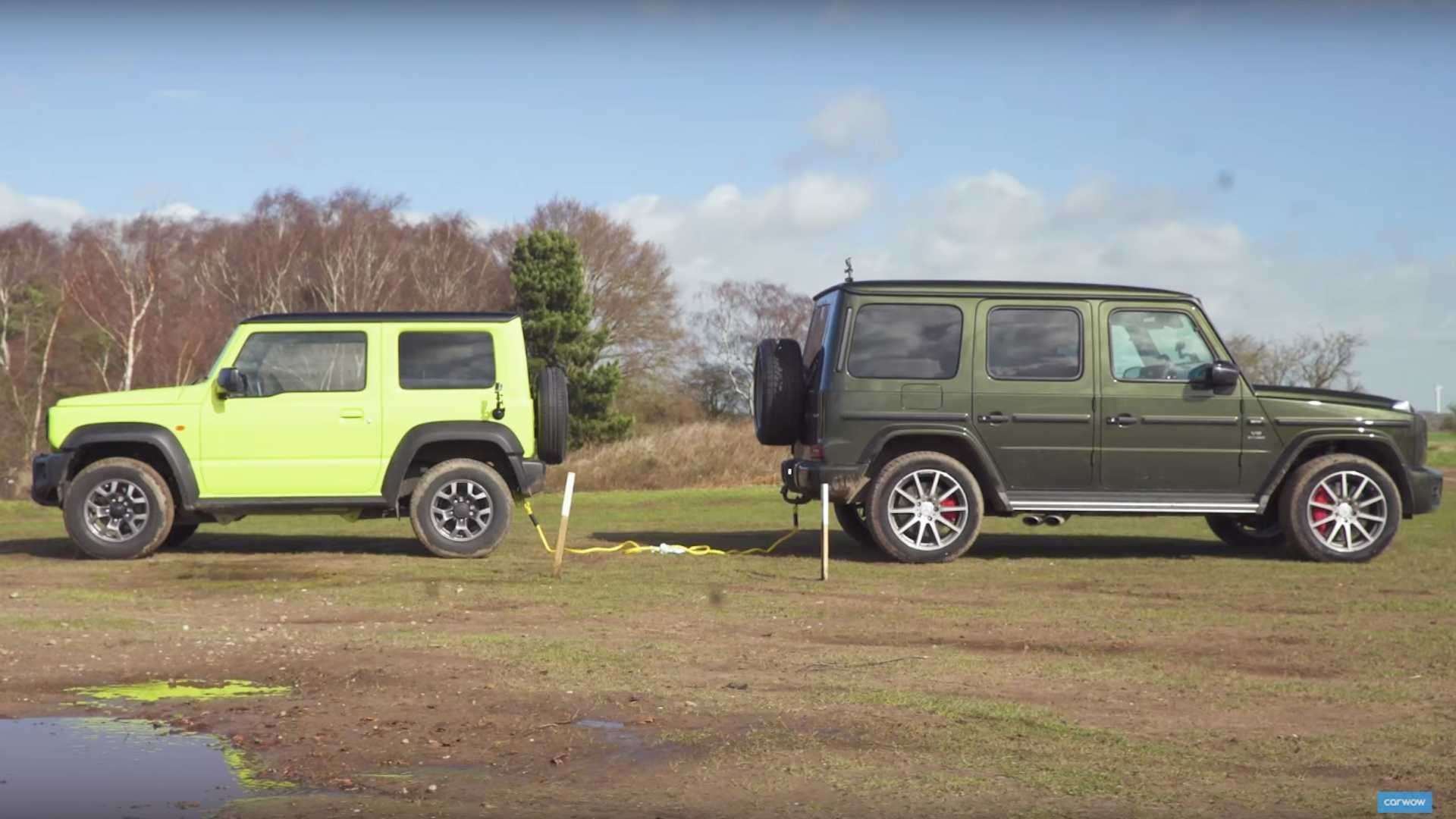Mercedes Amg G63 Tug Of Wars Suzuki Jimny With Obvious Results
