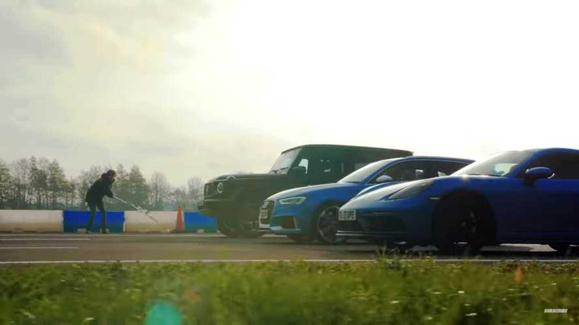 Watch Top Gear drag race AMG G63 vs Cayman GTS vs Audi RS3