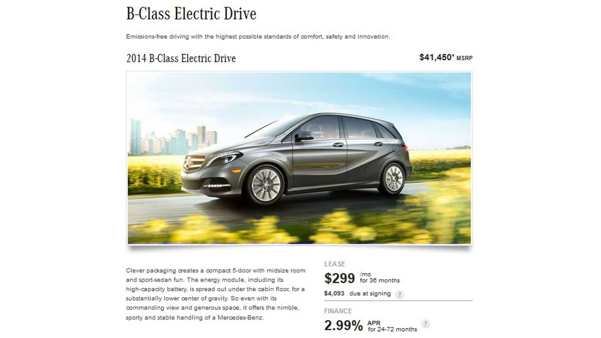 Mercedes Benz Lease >> Mercedes Benz B Class Electric Drive Lease Deal 299 Per Month