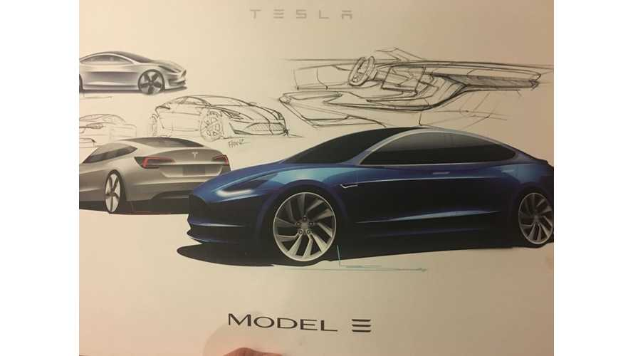 """Tesla Model 3 """"Initial Design Sketches"""" Show Good Follow-Through To Real Thing"""