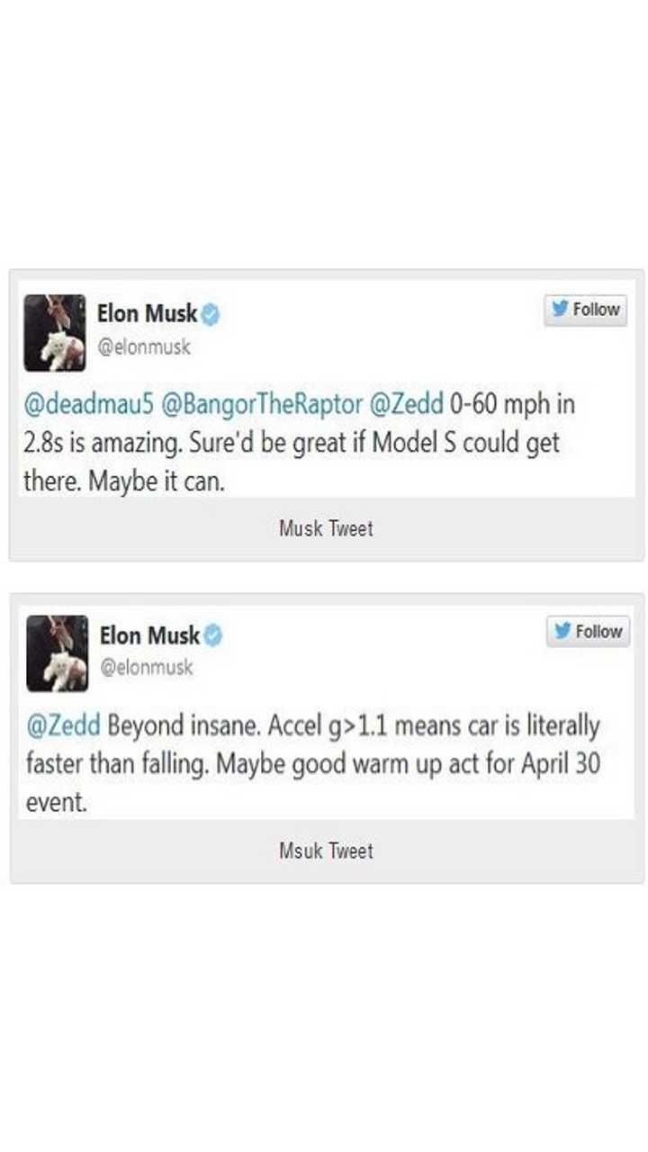 Series Of Musk Tweets Hint At Possibility Of Even Quicker Model S P85D
